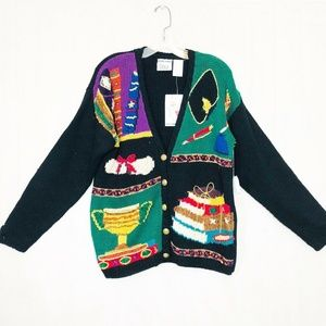 Vintage nwt Ugly Christmas Sweater Hand Knit Cardi